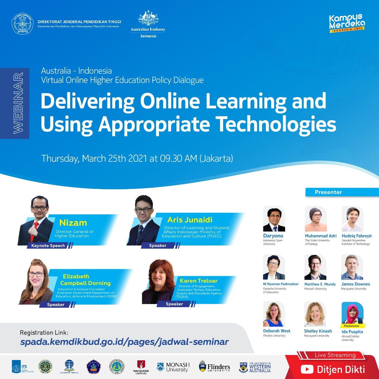 """Directorate General of Higher Education Ministry of Education, and Culture Republic of Indonesia Cooperating with The Department of Education, Skills and Employment (DESE), the Australian Embassy Jakarta Conduct Online Webinar on """"Delivering Online Learning"""""""